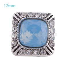 12MM Square snap Antique sliver Plated with blue rhinestone KS6158-S snaps jewelry