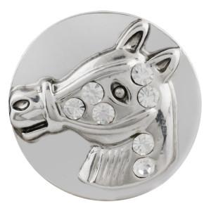 Astilla de caballo 20MM plateada con diamantes de imitación blancos KC5693 cowboy