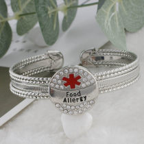 20MM Medical Alert food allergy snap Silver Plated with rhinestone and enamel KC9827 snaps jewelry