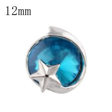 12mm star Small size snaps silver plated with blue Rhinestone for chunks jewelry