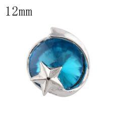 12mm étoile petite taille s'enclenche argenté avec strass bleu pour bijoux de morceaux