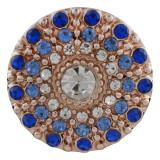 20MM redondo chapado en oro rosa con diamantes de imitación azules KC7597 broches de joyería