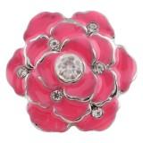 20MM Flor de plata chapada con esmalte rojo rosa KC7385 broches de joyería