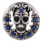 20MM Skull Antique silver plated with deep blue Rhinestone KC7368 interchangeable snaps jewelry