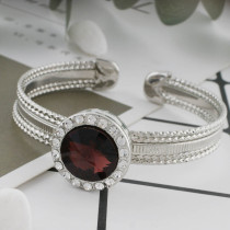 20MM Round snap Silver Plated with Dark red rhinestone KC9793 snaps jewelry