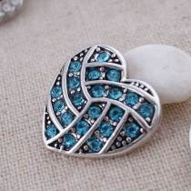 20MM Heart volleyball snap button Antique Silver Plated with light blue rhinestone snap jewelry