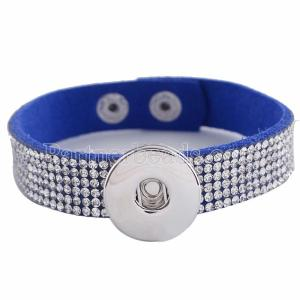 1 buttons Blue leather KC0244 with Rhinestones new type bracelets Button removable fit 20mm snaps chunks