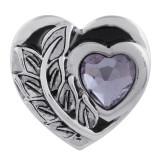 Cœur 20MM en métal argenté avec strass violet et émail KC5544 s'encliquette bijoux