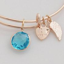 wire bracelet with big Imitation zircon charms and small metal charms
