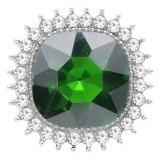 Diseño 20MM chapado en plata con diamantes de imitación verdes KC6777 broches de joyería