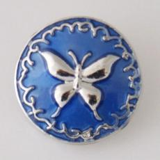 20MM Butterfly snap Silver Plated with blue Enamel KB7850 snaps jewelry