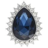 Diseño 20MM chapado en plata con diamantes de imitación bule oscuro KC9918 broches de joyería