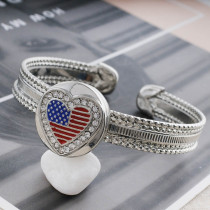 20MM National flag snap Silver Plated with  rhinestone and enamel KC7559 snaps jewelry