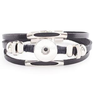 22cm Многослойные кожаные браслеты KC0236 нового типа подходят для кусков 20mm защелки