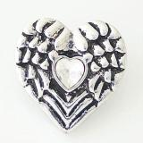 20MM Loveeart snap Antique Silver Plated with white  rhinestone KB8159 snaps jewelry