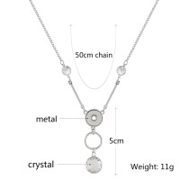 Pendant of rhinestone sliver Necklace with 50CM chain KS1216-S fit 12mm chunks snaps jewelry