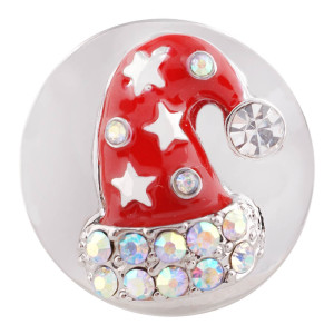 20MM Christmas hat silver plated with Rhinestone and Enamel KC7427 interchangeable snaps jewelry