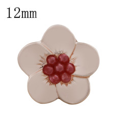 12MM Flower snap Rose Gold Plated with red beads KS9709-S snaps jewelry