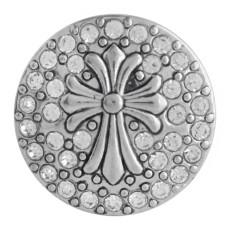 20MM Kreuz Druckknopf Antik Silber Überzogen mit weißem Strass KC9752 Druckknopf