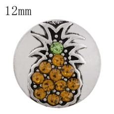 12MM fruit snap sliver plated with yellow Rhinestone KS6273-S interchangeable snaps jewelry