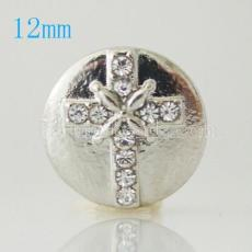 12mm cross snaps  Silver Plated with white Rhinestone KB6651-S snap jewelry