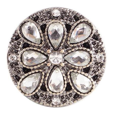 20MM Flower round snap Antique copper plated KC5031 with white Rhinestone interchangeable snaps jewelry
