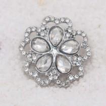 20MM design snap Silver Plated avec strass blanc KC7931 s'encliquette bijoux