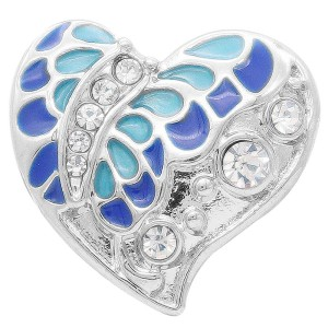20MM  Butterfly snap Silver Plated with rhinestone and blue enamel KC7909 snaps jewelry