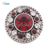 Broches 12mm plateados con diamantes de imitación rojos KS5067-S joyería rápida
