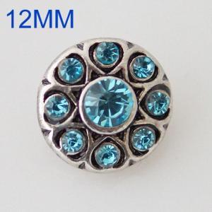 Broches redondos 12mm de plata antigua chapada con diamantes de imitación azules KB6504-S joyería rápida