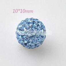10 * 10mm cuentas de diamantes de imitación azules