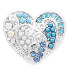 20MM loveheart snap Silver Plated with Rhinestone And pearls KC7828 snaps jewelry