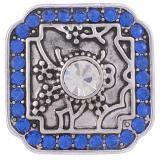 20MM Защелки неправильной формы, старинное серебро с голубым стразами KB5238, защелкивающиеся ювелирные изделия