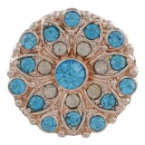 20MM design Rose-Gold Plated with blue rhinestone KC7601 snaps jewelry