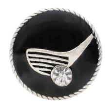 20MMスポーツスライバーブラックエナメルメッキとラインストーンKC6566スナップジュエリー