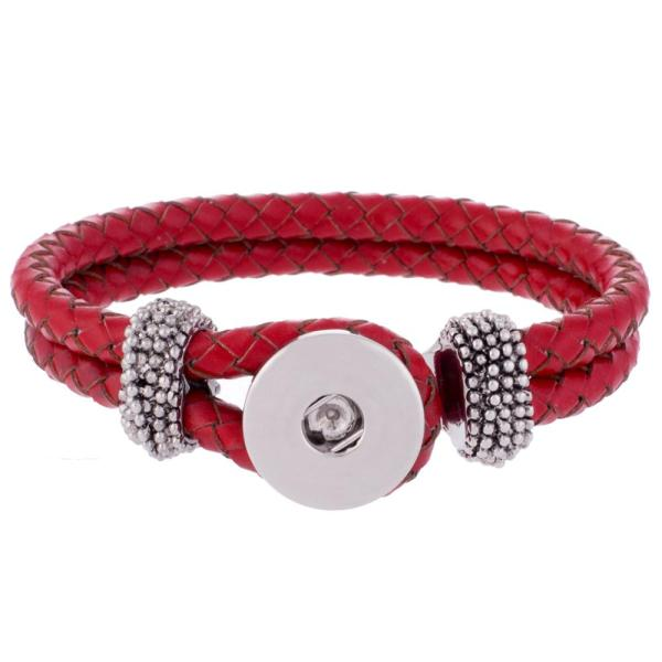 Red real leather new type bracelets fit snaps chunks