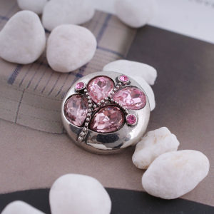 20MM desin snap silver Antique plated with pink rhinestone KC5335 snaps jewelry