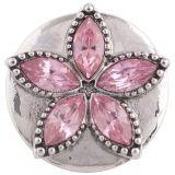 20MM Star Snap Silber Antik plattiert mit rosa Strass KC5329 Snaps Schmuck