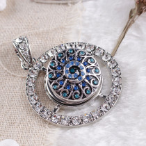 20MM Flower snap Antique Silver Plated with blue  rhinestone KB8052 snaps jewelry