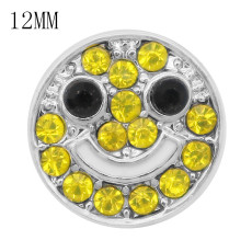 12MM Smile snap Silver Plated with  yellow rhinestone KS7029-S snaps jewelry