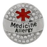 20MM Medical Alert薬アレルギースナップラインストーンとエナメルでメッキされたシルバーKC9823スナップジュエリー