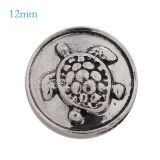 12mm Sea turtle snaps Antique Silver Plated KB6656-S snap jewelry