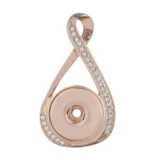 bouton-pression pendentif en or rose avec ajustement strass 20MM encliquetement bijoux de style KC0391