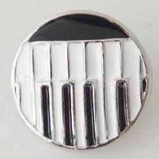 20MM Piano snap Silver Plated with Enamel KB6347 notes de musique noir