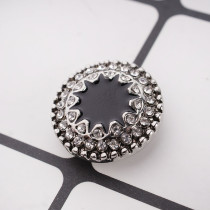 20MM design snap button Silver Plated with black Enamel and Rhinestone KC9706 snap jewelry