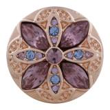 20MM redondo chapado en oro rosa con diamantes de imitación de color púrpura claro KC5645 broches de joyería