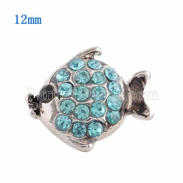 Broche de pescado 12MM plateado con diamantes de imitación azules KS9620-S broches de joyería