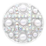 20MM Perlenverschluss versilbert mit weißen Strasssteinen KC7795 schnappt edel