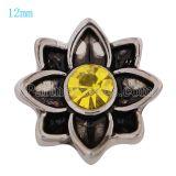 12MM Flower Snap Antik Silber vergoldet mit gelbem Strass KS9667-S Snaps Schmuck
