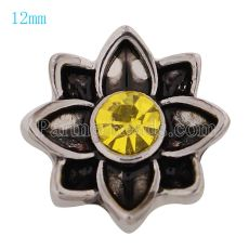 12MM Flower snap Antique Silver Plated with yellow Rhinestone KS9667-S snaps jewelry